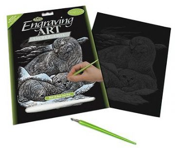 ENGRAVING ART SET - SEAL AND PUP (SILVER FOIL) by ROYAL & LANGNICKEL